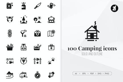 100 Camping minimal icons