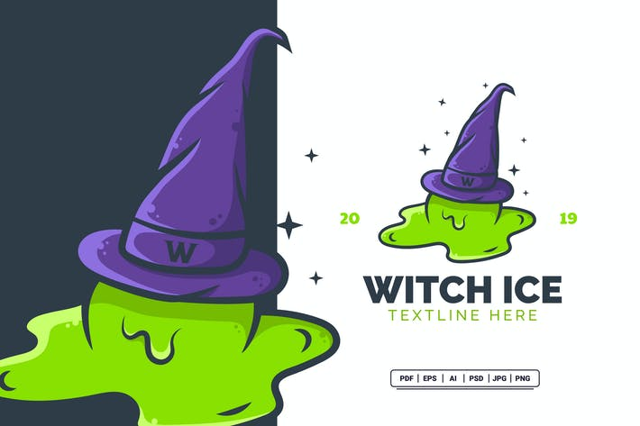 Thumbnail for Witch Ice Cream Hat Modern Logo Design