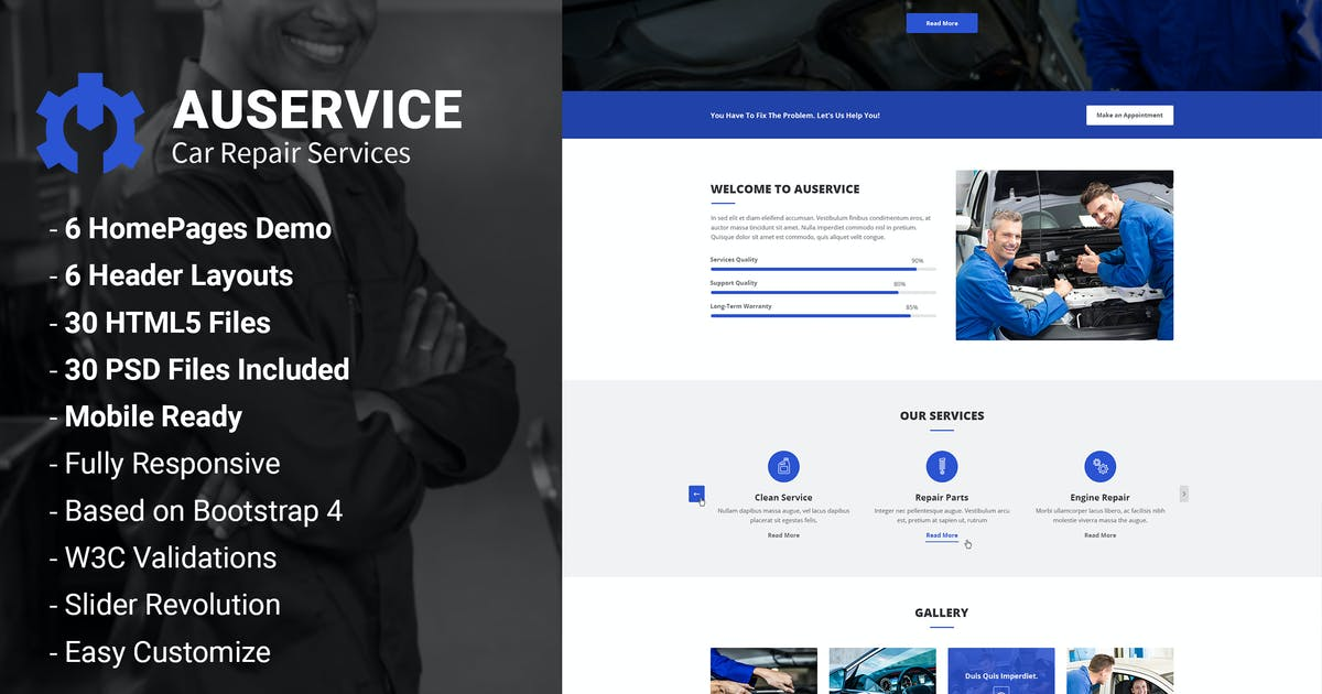 Download Auservice - Auto Mechanic & Repair HTML Template by AuThemes