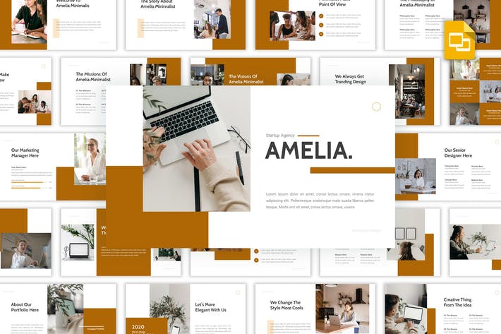 Thumbnail for Amelia - Startup Agency Google Slides Template