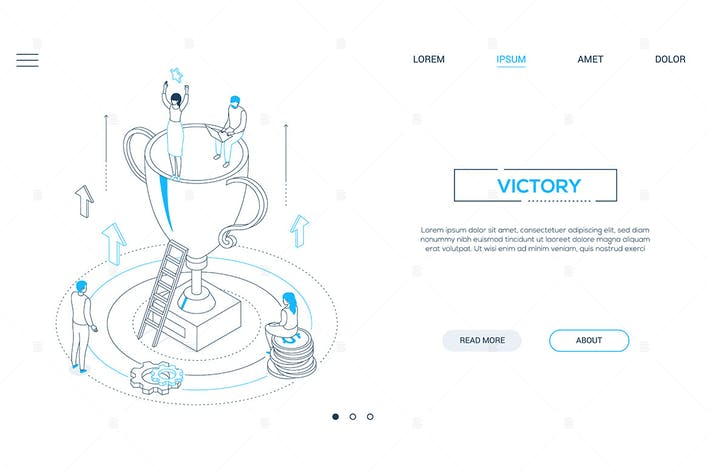 Cover Image For Victory - line design style isometric web banner