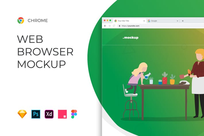 Thumbnail for Chrome Browser Window – Website Mockup