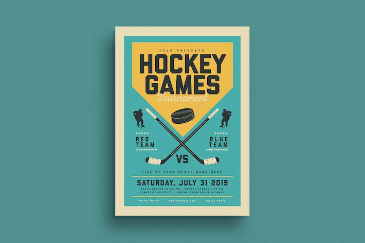 Thumbnail for Vintage Hockey Game Flyer
