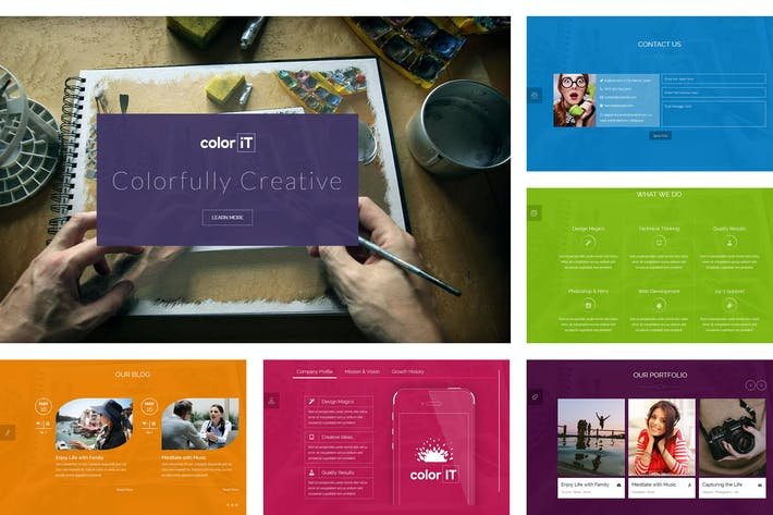 Thumbnail for coloriT - Colorful Single Page HTML Template