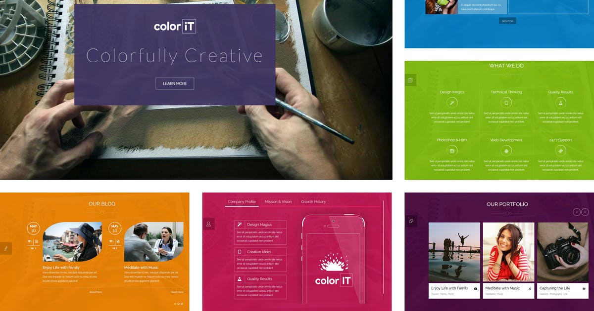 Download coloriT - Colorful Single Page HTML Template by BuddhaThemes