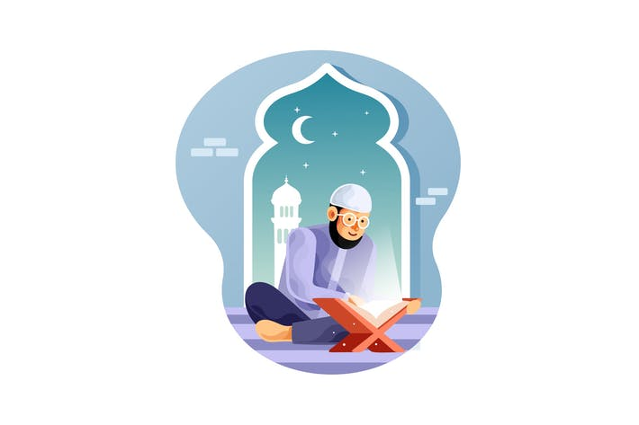 Thumbnail for Muslim is reading the Koran in the mosque at night