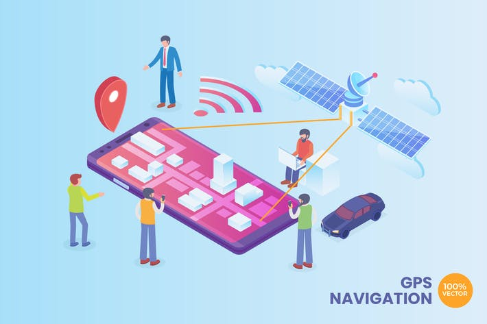 Thumbnail for Isometric GPS Navigation Technology Vector Concept