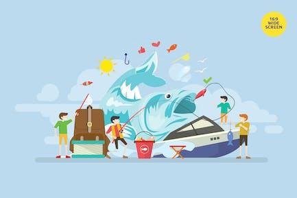 Ilustración del Concepto Vector de viaje de pesca