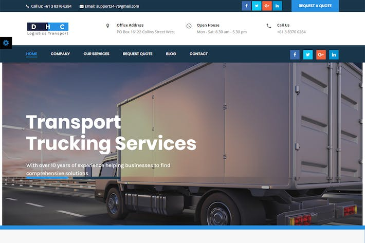 Cover Image For DHC | Logistics Transportation HTML Template
