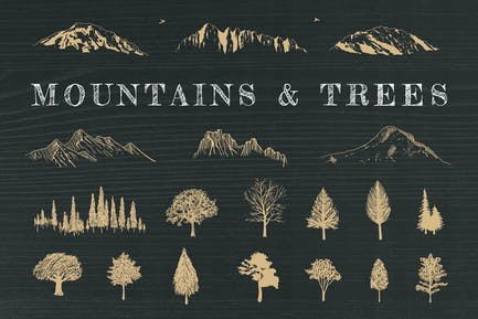 Hand-Drawn Mountains and Trees