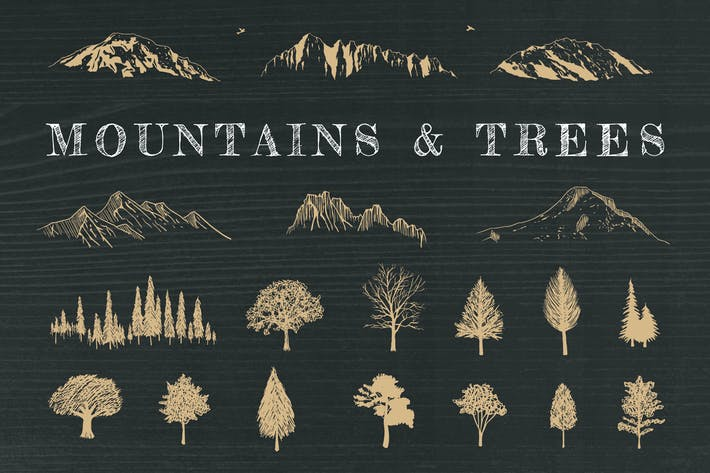 Cover Image For Hand-Drawn Mountains and Trees