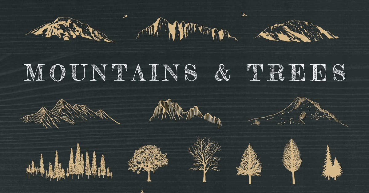 Download Hand-Drawn Mountains and Trees by adrianpelletier