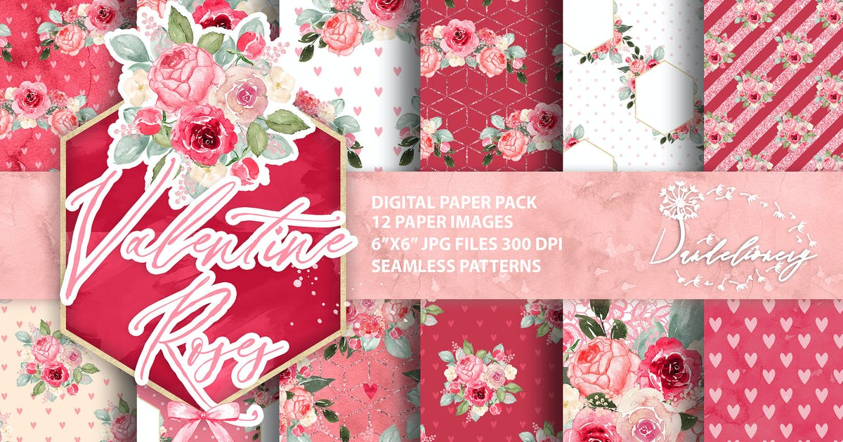 Download Watercolor Valentine Roses digital paper pack by designloverstudio