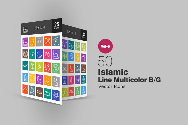 Thumbnail for 50 Islamische Linie Multicolor B/G Icons