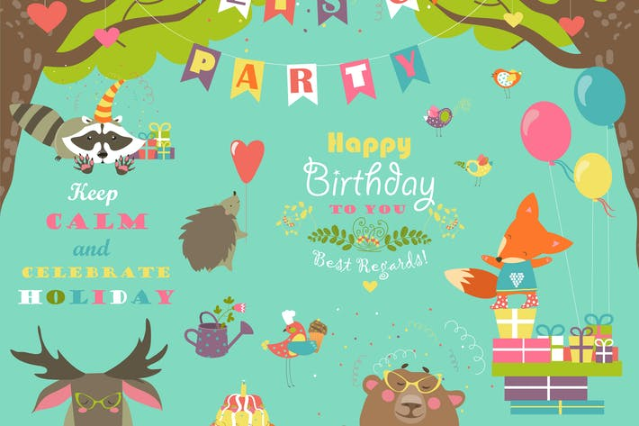 Cover Image For Set of vector birthday party elements