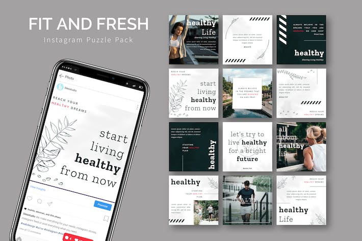 Fit And Fresh - Instagram Puzzle Template