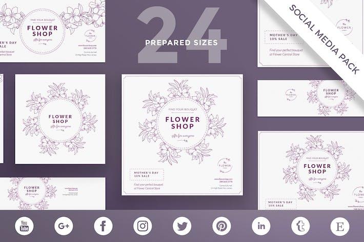 Thumbnail for Flower Shop Social Media Pack Template