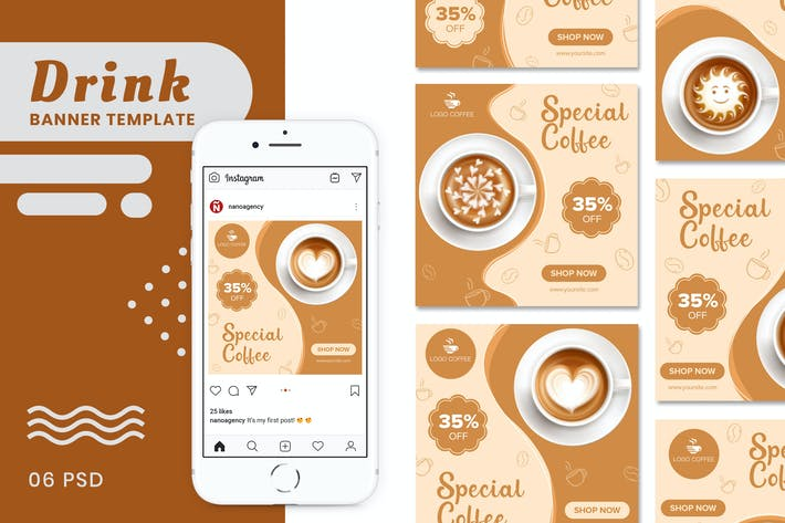 Thumbnail for Coffee & Drink Banners Templates
