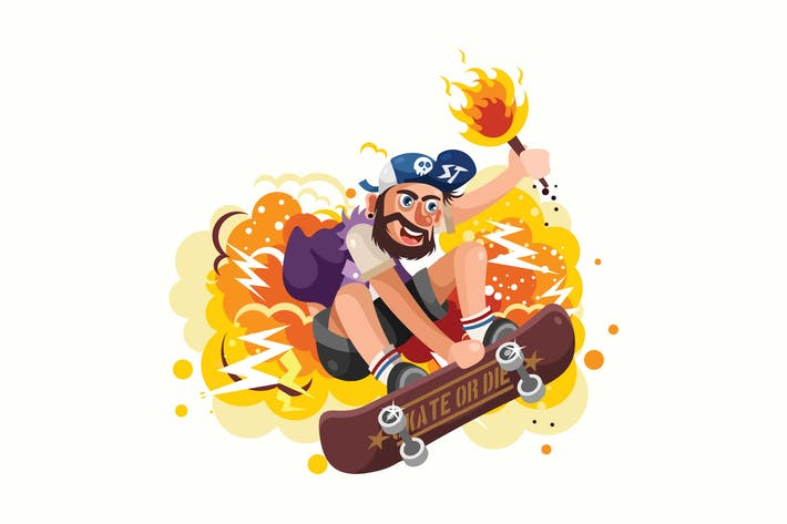 Thumbnail for Young Skater Jumping Vector Illustration