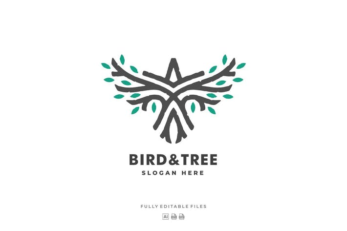 Thumbnail for Bird and Tree Line Art Style Logo Template