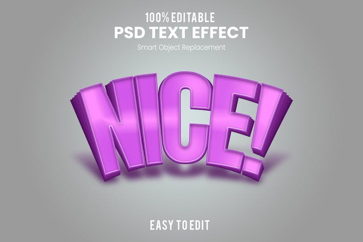 Фиолетовый 3D-текстовый эффект