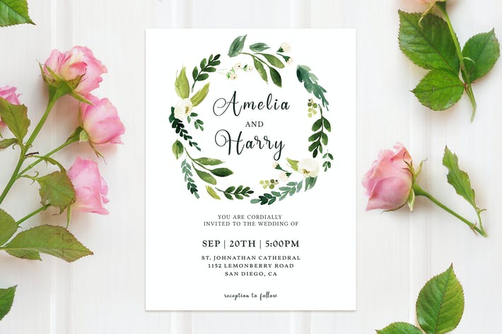 Greenery Floral Wedding Invitation Template