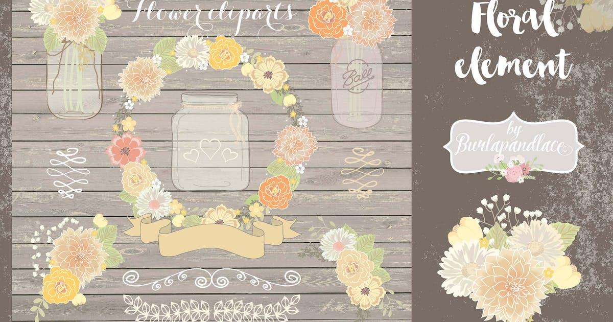 Download Mason jar floral clipart by burlapandlace