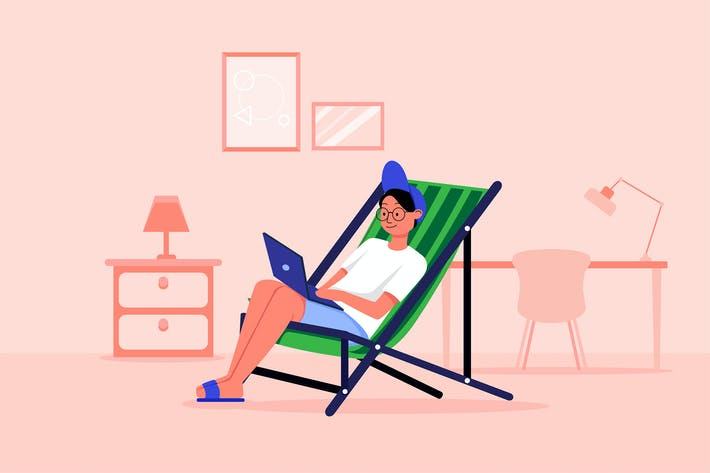 Thumbnail for Man working from home concept. Vector illustration