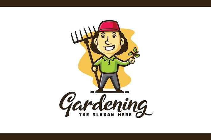 Thumbnail for Gärtner und Rasenpflege Charakter Maskottchen Logo