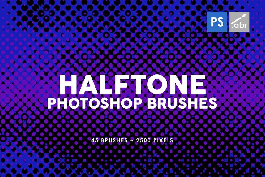 45 Halftone Photoshop Stamp Brushes