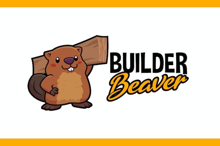 Thumbnail for Cartoon Cute Builder Beaver Mascot Logo