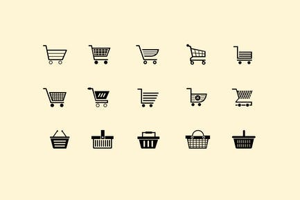 15 Shopping Cart and Basket Icons