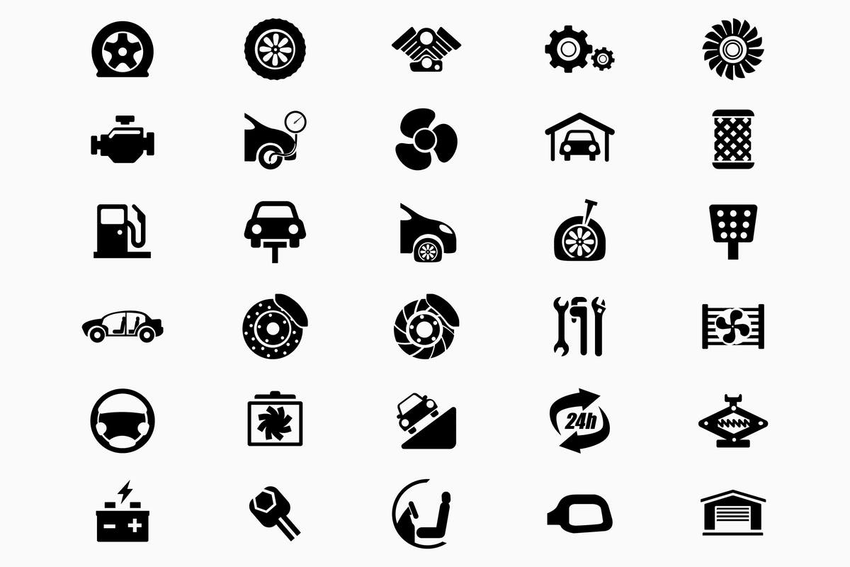 Download 30 Car Servicing Solid - Glyph Icons by ChamIcon by Unknow