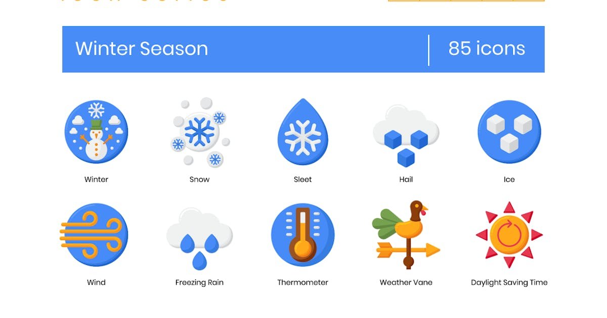 Download 85 Winter Season Icons - Rich Series by Krafted