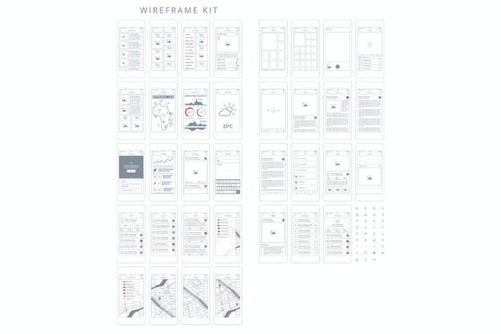 Thumbnail for Wireframe Kit. Templates and UI elements for web,