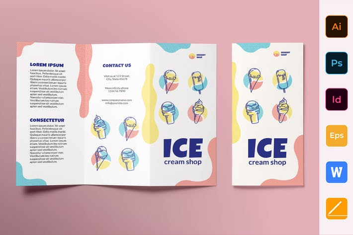 Thumbnail for Ice Cream Shop Brochure Trifold