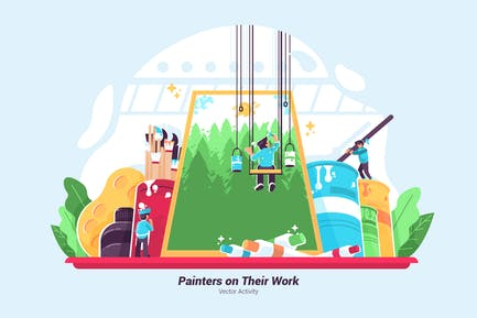 Painters On Their Work - Vector Illustration