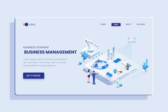 Thumbnail for Business Management Isometric Vector Concept