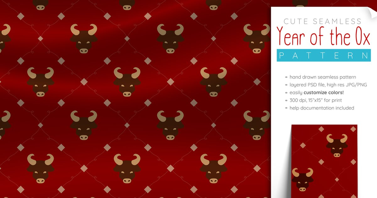 Download Year of the Ox Pattern Seamless (Lunar New Year) by SunshineFonts