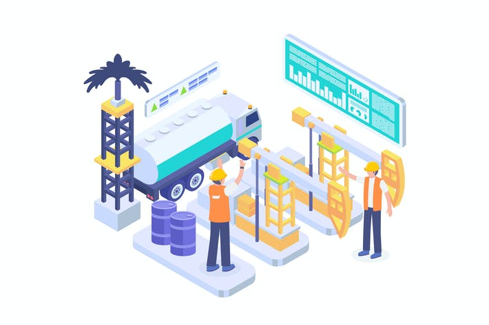 Thumbnail for Oil Rig Production Isometric Vector