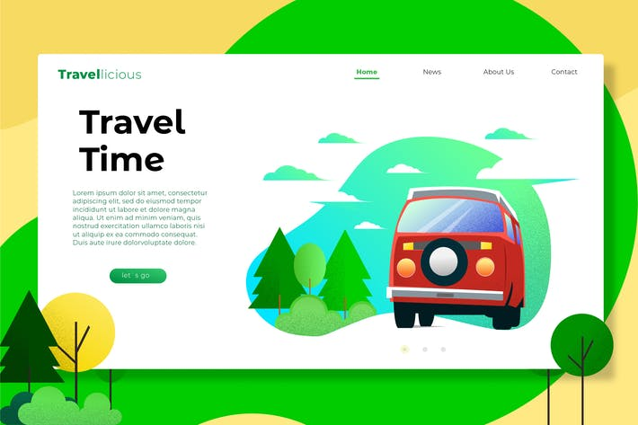 Thumbnail for Travel Time  Web Header Vector Template