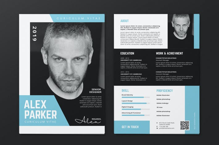 Thumbnail for Clean Minimalist CV Resume AI and PSD Flyer Vol.31