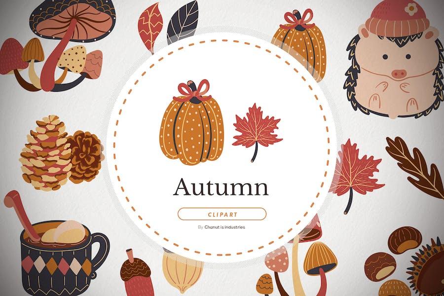 11 Autumn season flat illustration