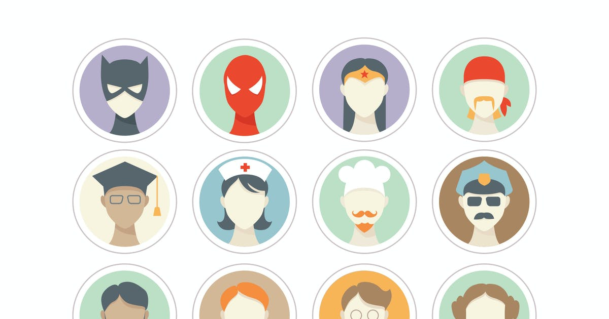 People Faces Icons / 3 Different Themes by Jumsoft