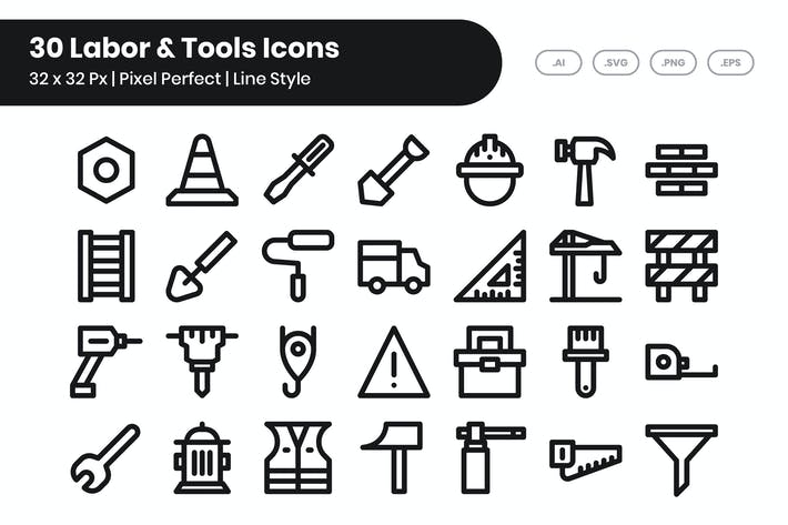 30 Labor & Tools Icons - Line