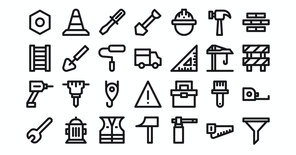 Download 30 Labor & Tools Icons - Line by kmgdesignid