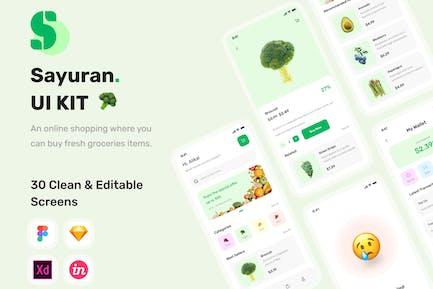 Sayuran - UI-Kit für Lebensmittelgeschäfte