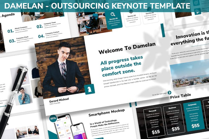 Thumbnail for Damelan - Outsourcing Keynote Template