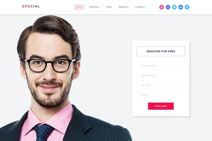 Cover Image For finance Landing Page Psd Template