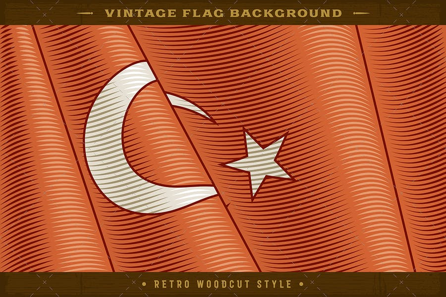 Vintage Flag Of Turkey. Close-up Background